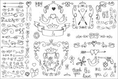 Doodle frame,arrows,group,decor element.Love Royalty Free Stock Photo