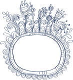 Doodle frame with birds and flowers Stock Image