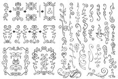 Doodle frame,border,decor element.Floral hand Stock Image