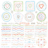 Doodle frame,brushes,wreath decor set.Pastel Royalty Free Stock Image