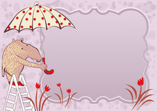 Doodle frame with cute tapir and umbrella Stock Image