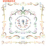 Doodle frame decor set.Colored pencil,watercolor Royalty Free Stock Images