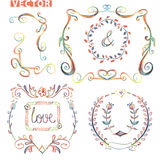 Doodle frame.Decor set.Colored pencil,watercolor Stock Photo