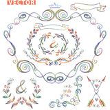 Doodle frame.Decor set.Colored pencil,watercolor Royalty Free Stock Image