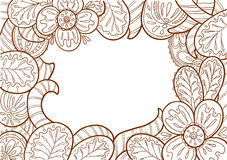 Doodle frame decorate by floral ornament Stock Photos