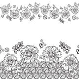 Doodle frame with flower in doodle. Hand Drawn. Vector pattern. Stock Photos