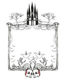 Doodle frame , Halloween bones, bats and skulls Royalty Free Stock Photos