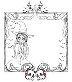 Doodle  frame , Halloween witch,bones, bats, skulls Royalty Free Stock Photography