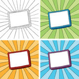 Doodle frame with sunbeam radial background Royalty Free Stock Photos