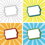 Doodle frame with sunbeam radial background. Easy to edit. Background and frame are separate illustrations. Four doodle frames with sunbeam radial background Royalty Free Stock Photos