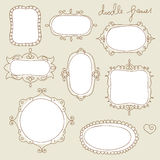 Doodle frames. Collection of hand drawn doodle frames Royalty Free Stock Photography