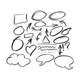 Doodle frames and arrow collection vector illustration sketch ha. Nd drawn with black lines isolated on white background royalty free illustration