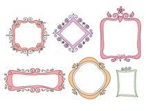 Doodle frames. Blank colored frames isolated on white background,set of doodle frames vector illustration