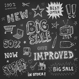 Doodle Frames and design elements on chalk board Stock Photo