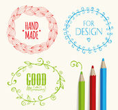 Doodle Frames and design elements. Royalty Free Stock Photos