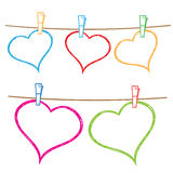 Doodle frames hanging on clothesline. Vector doodle frames for text or photo, hanging on clothesline Royalty Free Stock Photography