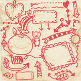 Doodle frames on the paper texture Stock Photo