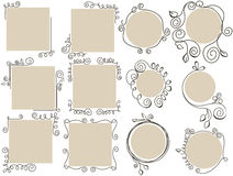 Doodle frames set. A collectionn of paper doodle frames stock illustration
