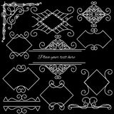 Doodle frames set on a black background. Royalty Free Stock Photos