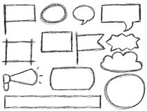 Doodle frames and speech bubbles. Hand drawn doodle frames, speech bubbles and banners isolated on white royalty free illustration