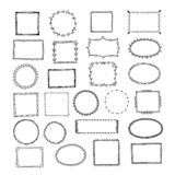 Doodle frames. Square borders sketch lines hand drawn round picture empty frame vintage vector set