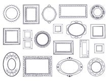 Doodle frames. Square hand draw borders, pencil circle line, round curved frames, kids pen drawings. Vector underline. Doodle set vector illustration