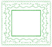 Doodle frames VECTOR set. Green on white. Royalty Free Stock Image