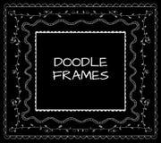 Doodle frames VECTOR set. White on black. Stock Photo