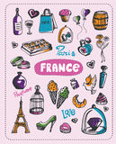 Doodle of France. Doodle about France. A set of vector elements of France Stock Photography