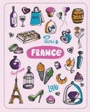 Doodle of France. Doodle about France. A set of vector elements of France royalty free illustration