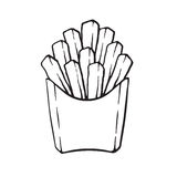 Doodle of french fries in a paper pack Royalty Free Stock Images