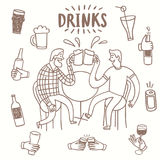 Doodle friends drinking beer set. Stock Images
