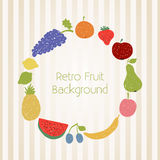 Doodle fruit circle in retro colors Royalty Free Stock Image