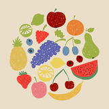 Doodle fruit circle in retro colors Stock Photography