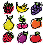 Doodle Fruit Icons Royalty Free Stock Photos