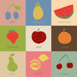 Doodle fruit icons in retro colors Stock Image