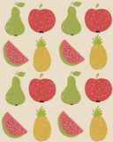 Doodle fruit pattern in retro colors Stock Image