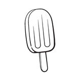 Doodle of fruit popsicle ice lolly. Vector illustration. Hand drawn doodle of fruit popsicle ice lolly. Cartoon sketch. Decoration for menus, signboards Stock Photo