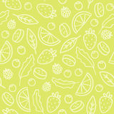 Doodle fruits and berries green seamless pattern Stock Photography