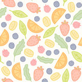 Doodle fruits and berries seamless pattern. Vector illustration Royalty Free Stock Photo