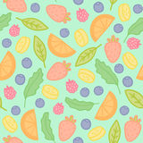 Doodle fruits and berries seamless pattern Stock Photography