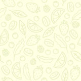 Doodle fruits and berries seamless pattern Royalty Free Stock Photos