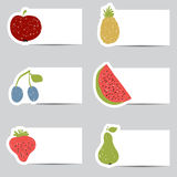 Doodle fruits cards in retro colors Royalty Free Stock Photography