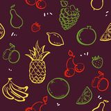 Doodle fruits isolated on white blackboard seamless pattern vector. Healthy nutrition sketch illustration. pineapple, strawberries royalty free illustration