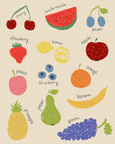 Doodle fruits in retro colors Stock Photo
