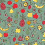 Doodle Fruits Seamless Pattern. Food Background. Royalty Free Stock Photography