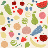 Doodle fruits seamless pattern in retro colors Stock Photography