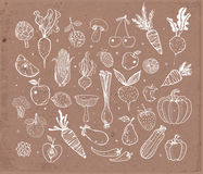 Doodle fruits and vegetables on brown parcel paper. Vector sketch illustration of healthy food. Royalty Free Stock Photos