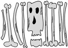 Doodle funny bones and skulls Stock Images