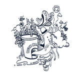 Doodle Funny Spirit of Drink for Coloring Royalty Free Stock Image